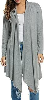 Womens Long Sleeve Open Front Long Cardigan Waterfall Asymmetric Draped Duster Coat