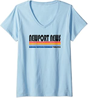Womens  Vintage 70s 80s Style Newport News, Virginia V-Neck T-Shirt