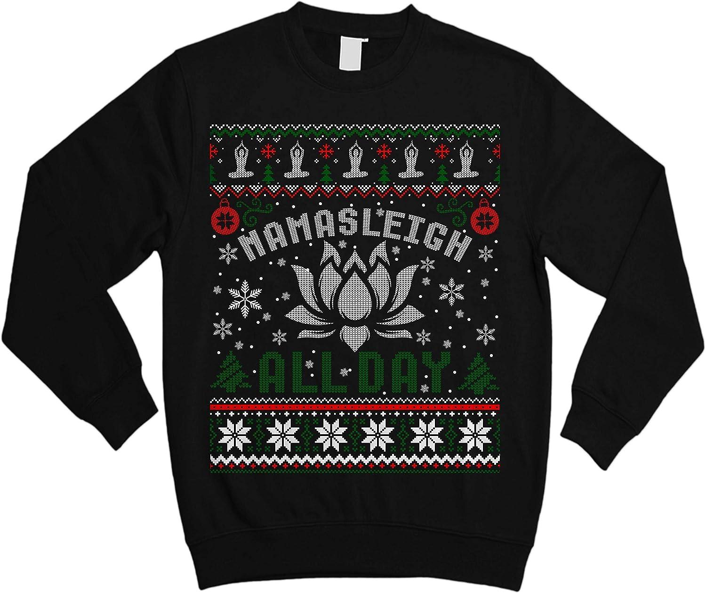 TeeKihy Namasleigh All Day Muscle Namaste Yoga Ugly Sweater Shirt - Noel Merry Xmas Sweatshirt