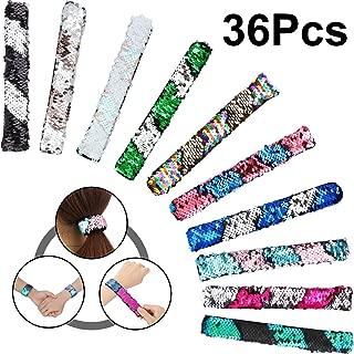36 Pieces Mermaid Reversible Sequin Slap Bracelets 2-Color Magic Decorative Glitter Slap Hair Bun Charms Sequins Flip Wristband for Girls, Boys, Party Favors (18 Colors)