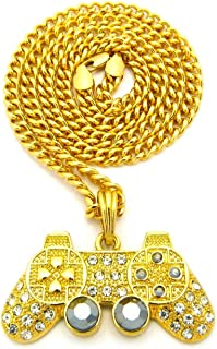 Bitter Sweet Store Mens Iced Out Gold Playstation Game Controller PS3 PS4 Pendant Cuban Chain Necklace