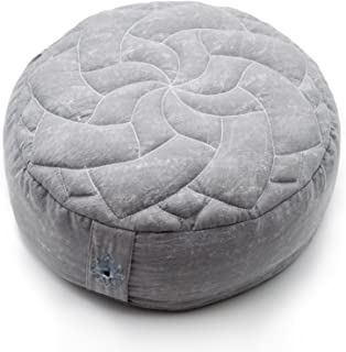 Zenjara Zafu Yoga Meditation Cushion - Overstuffed USA Buckwheat Hull Filling | Washable, Removable Double-Layer Cotton Pillow Cover w/Quilted Mandala | Choose Your Color & Size