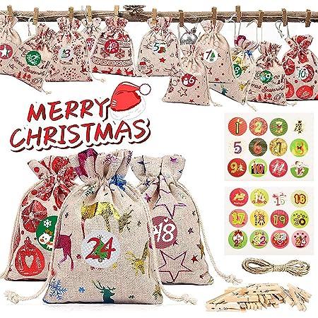 Cloth Bag Shengruili Set di 24 Calendario dell/'Avvento,Sacchettini di Iuta per Bomboniere,Calendario DellAvvento da Riempire,Sacchetti Juta Bomboniere,Calendario Natalizio Fai-da-Te