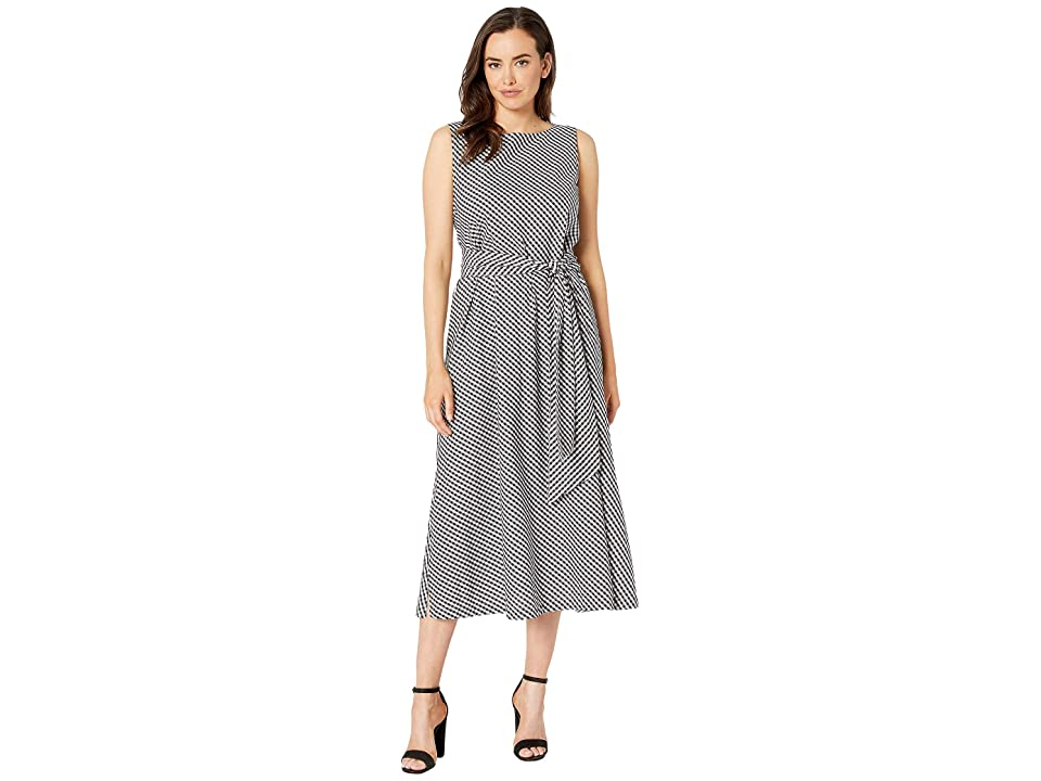 Anne Klein Mini Check Print Midi Dress w/ Attached Sash (Anne Black/White) Women