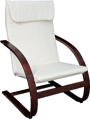 "Niche Mia Bentwood Reclining Lounge Chair, 26.5""Wx28""Lx39.5""H, Mocha Walnut/Beige"