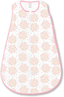 SwaddleDesigns Cotton Sleeping Sack with 2-Way Zipper, Pink Heavenly Floral Shimmer, Large