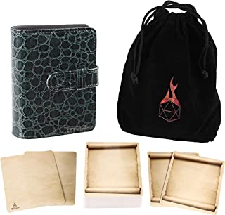 Forged Dice Co Spellbook of Incantations (Dragon Skin Edition) Spellbook Card Holder & Deck of Dry Erase Cards with Velvet...