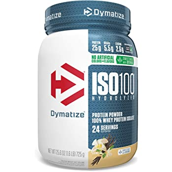 Dymatize ISO100 Hydrolyzed Protein Powder, 100% Whey Isolate Protein, 25g of Protein, 5.5g BCAAs, Gluten Free, Fast Absorbing, Easy Digesting, Natural Vanilla, 1.6 Pound