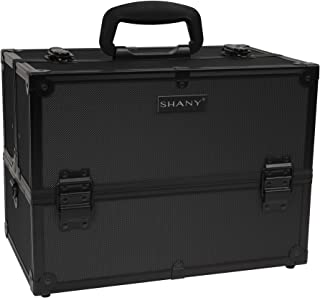 SHANY Essential Pro Makeup Train Case with Shoulder Strap and Locks – Black On Black