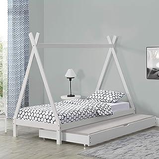 Lit de Tipi pour Enfant avec 2 Couchage Lit d'Appoint en Bois Naturel Pin avec Sommier à Lattes Blanc 206 x 96 x 162 cm