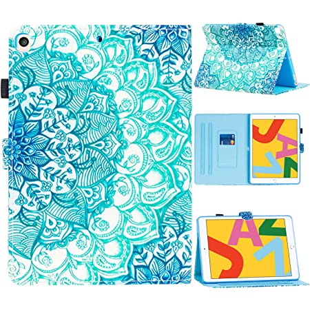 """SUPWANT New iPad 10.2 2020/2019 Case, iPad 8th/7th Generation 10.2"""" Cases, Shockproof Protective Stand Case Cover with Kickstand, Pencil Holder, Auto Wake/Sleep for iPad 10.2 Inch 8th Gen , Mandala"""