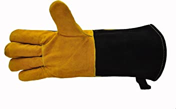 """14.5"""" Long Premium Leather Gloves, BBQ gloves, Grill and Fireplace Gloves, Cotton lining with Kevlar stitch, Heat Resistan..."""