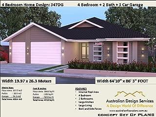 4 Bedroom + 2 Bath + 3 Car Garage Concept Plans: Concept plan includes detailed floor plan and elevation plans