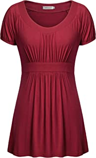 Helloacc Womens Round Neck Short Sleeve A Line Pleated Empire Waist Tunic Tops