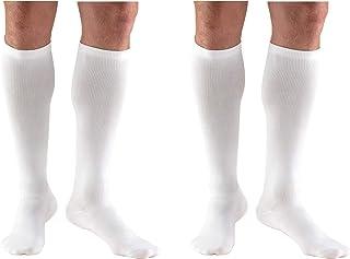 Truform Men's Knee High 15-20 mmHg Compression Dress Socks, White, X-Large (Pack of 2)