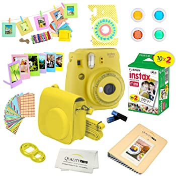Fujifilm Instax Mini 9 Instant Camera w/Fujifilm Instax Mini 9 Instant Films (20 Pack) + A14 Pc Deluxe Bundle for Fujifilm Instax Mini 9 Camera (yellow)