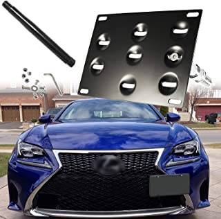 Xotic Tech Black Front Tow Hook License Plate Bumper Mount Bracket Holder For Lexus IS CT GS LS RC RX IS-F