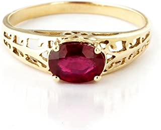 1.15 ct 18K Solid Yellow Gold Filigree Solitaire Ring with Ruby