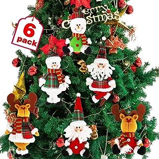 Dreampark Christmas Tree Ornaments, 6 Pack Xmas Plush Hanging Ornaments Holiday Party Decor Festive Season Pendant - Santa/Snowman/Reindeer Ornaments for Christmas Tree Decorations