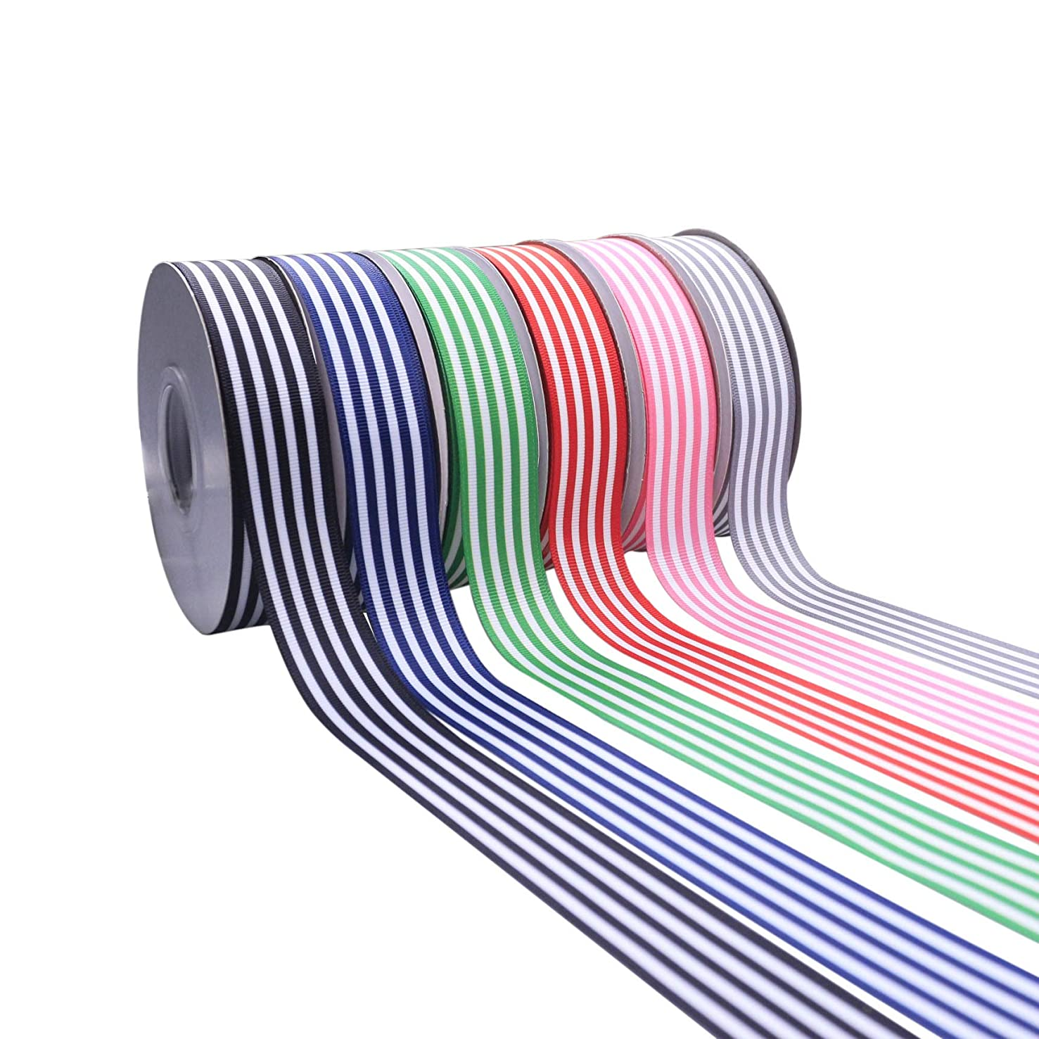 Multi Color Striped Grosgrain Ribbon 1 Inch 30 Yards Premium Fabric Ribbon 6 Rolls 5 Yards/Color Gift Wrap Ribbon for Weddings Bridal Showers Holiday Valentine's Day Gift Decor