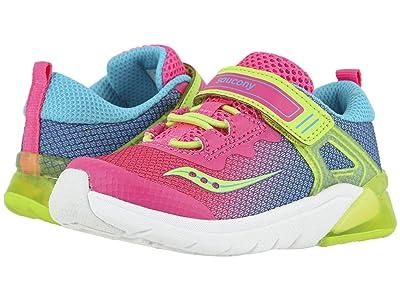 Saucony Kids S-Flash Glow Jr (Toddler) (Pink Multi Textile/Multi) Girls Shoes