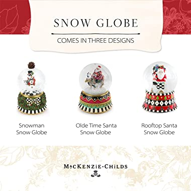MacKenzie-Childs Snowman Snow Globe and Music Box, Christmas Decorations, Holiday Collectibles