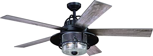 Charleston 56 In. Bronze Farmhouse Indoor-Outdoor Ceiling Fan with LED Light Kit and Remote