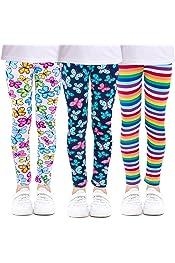 Kereda Kids Floral Stretch Leggings Full Length Children Tight Pants Colorful Printing Leggings for Age 4-13 Years Girls Leggings