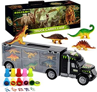 ROSYKIDZ Dinosaurs Transport Car with Dinosaur Toys, Carrier Truck Toy with 6 Dino and 10pcs Dinosaur Stamps, Tractor Trailer Toy Set for Kids Age 3 4 5 6 7 8 Years Old Boys Girls Gifts
