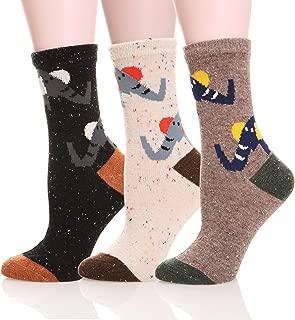 Womens Girls Wool Novelty Socks Cabin Cute Animal Cartoon Funny Casual Soft Cotton Socks 3 Pack