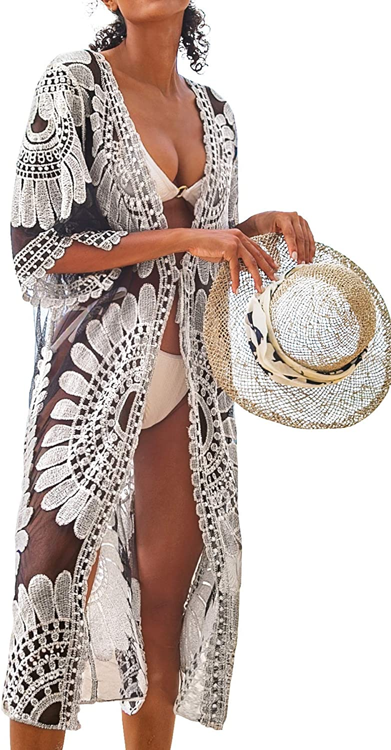 CUPSHE Women's V Neck Ruffled Lace Up One Piece Monokini Lace Sheer Cardigan Floral Crochet Cover Up