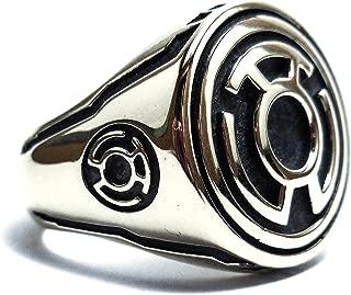 925 Sterling Silver Sinestro Corps (FEAR) Yellow Lantern ring/Green Lantern ring Style Heavy Biker Harley Rocker, Silver rings