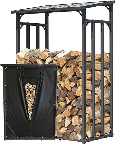 QUICK STAR Étagère en métal pour Bois de cheminée Anthracite 130 x 70 x 185 cm Distance Entre Les Bois 1.6 m3 avec pr...
