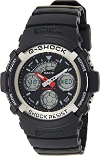 """ساعة للرجال من """"كاسيو"""" موديل """"جي شوك"""" انالوج بعقارب ورقمية، بمينا، بسوار من الستانلس ستيل - AW-590-1A"""