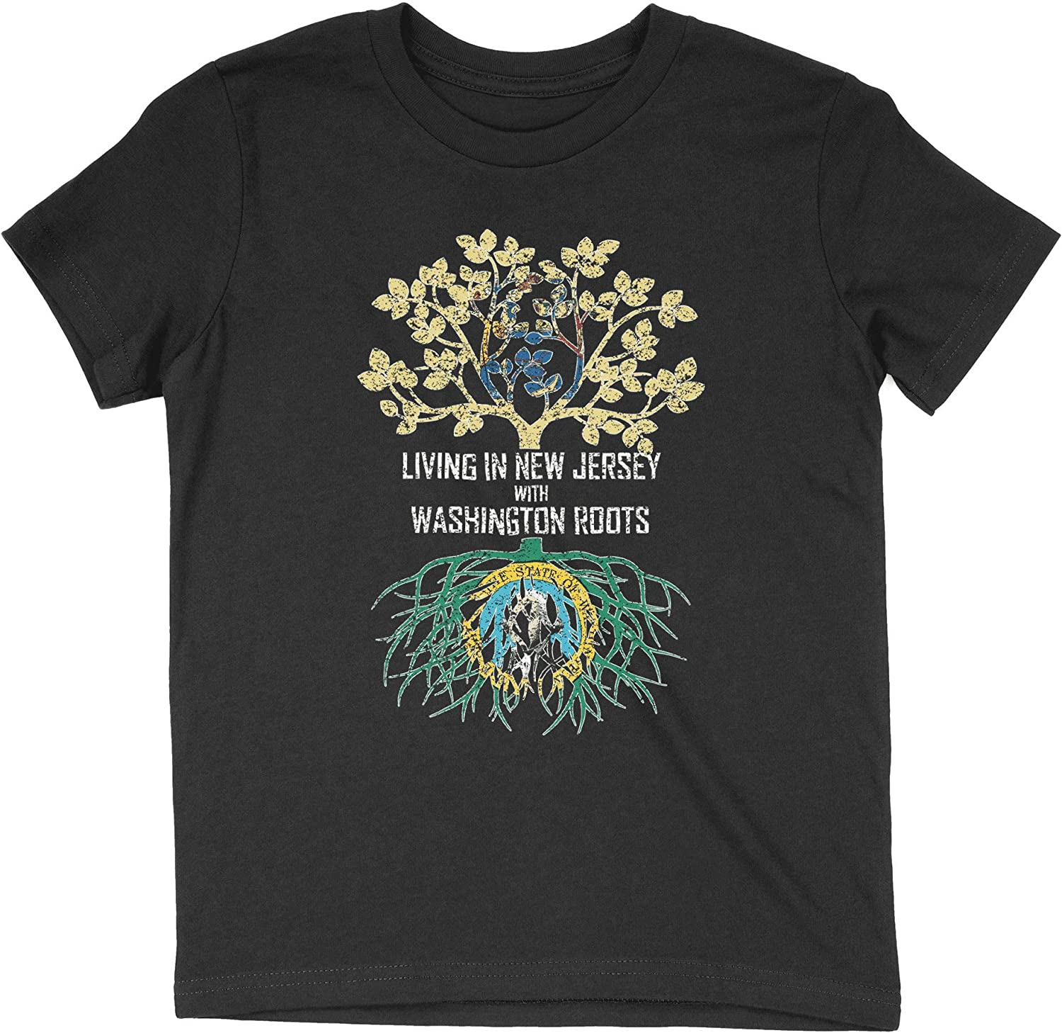 HARD EDGE DESIGN Girl's Youth Living in New Jersey with Washington Roots T-Shirt