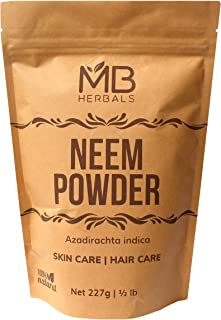 MB Herbals Pure Neem Powder 227 Gram | Half Pound | 8 Ounce | Pure Wild Crafted Neem Leaf Powder | Very Bitter Neem Supple...