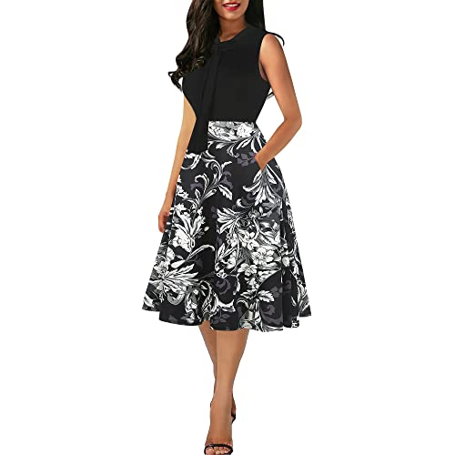 6556c8741cf oxiuly Women s Vintage Bow Tie V-Neck Pockets Casual Work Party Cocktail  Swing A-