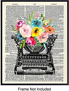 Vintage Floral Typewriter Dictionary Wall Art - 8x10 Sentimental Upcycled Home Decoration, Apartment or Office Decor - Chic Unique Gift for Writer, Teacher, Journalist, Personal Assistant, Secretary