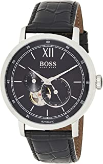 hugo boss Signature Collection Men's Black Dial Leather Band Watch - 1513504