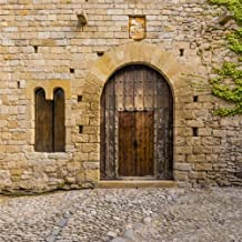 LFEEY 10x10ft Ancient Wooden Door Backdrop Old Spain Peratallada Historic Palace Weathered Mediaeval Castle Doorway Photography Background Travel Photo Studio Props