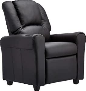 JC Home Contemporary Black Leather Kids Recliner with Cup Holder and Headrest