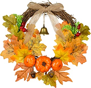 Artiflr 12 Inch Artificial Autumn Fall Wreath, Harvest Thanksgiving Door Wreath for Front Door with Pumpkins, Maple Leaf and Berry
