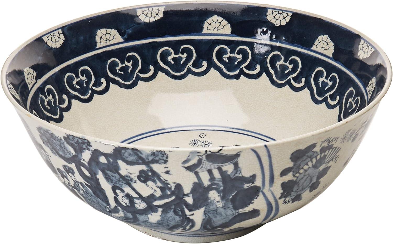 Oriental Furniture 14  Ladies bluee & White Porcelain Bowl