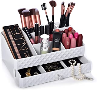 Cosmetic Storage Box Organizer - Compartments to Organize and Store Your Cosmetics Makeup and Accessories. Drawer with Pad...