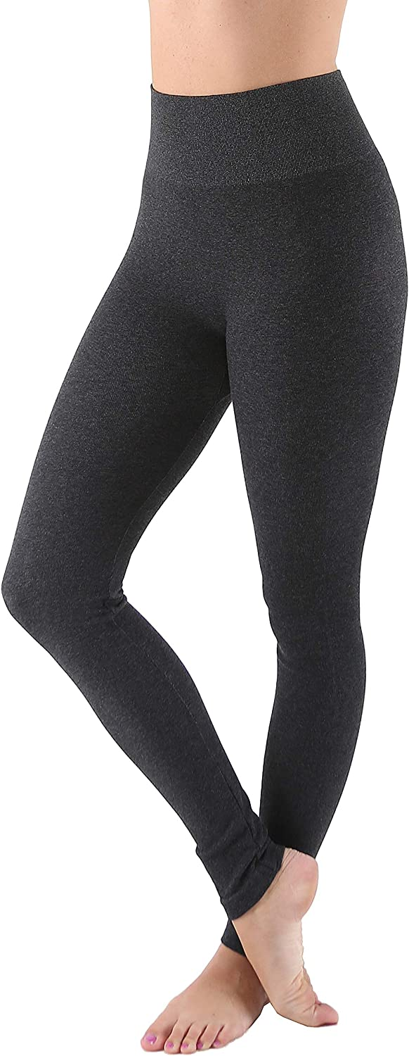AEKO Women's Thick Yoga Soft Cotton Blend High Waist Workout Leggings with Tummy Control Compression