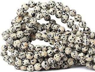 Qiwan 45PCS 8mm Natural Dalmatian Jasper Gemstone Smooth Round Loose Beads For Jewelry Making 1 Strand 15