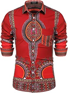 JINIDU Mens African Dashiki Print Shirt Long Sleeve Button Down Shirt Winter