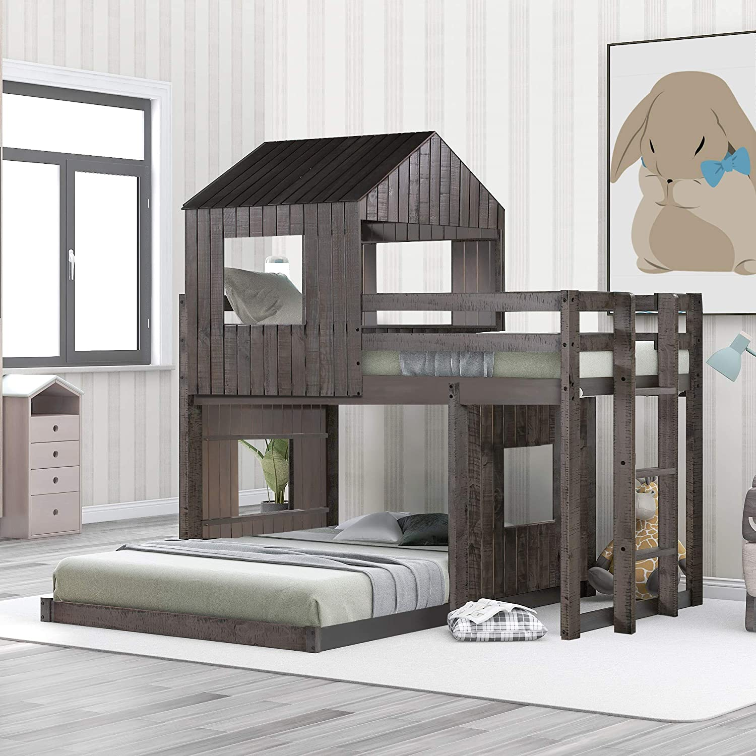 Polibi Twin Over shipfree Full Wooden with Loft Bed Bunk Max 82% OFF Playhouse