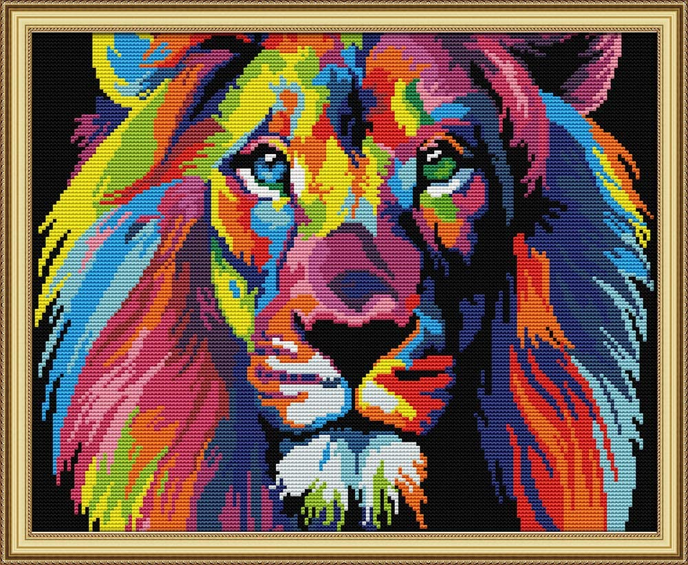 Counted 14CT Coloured lion CaptainCrafts New Stamped Cross Stitch Kits Preprinted pattern Counted Embroidery Starter Kits for Beginner Kids and Adults
