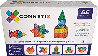 Connetix Magnetic Tiles 62 Piece Set | The Premium STEM Approved Educational Toy for Kids of All Ages | Stronger Magnets so You can Build Bigger | Encourage Learning and Development Through Play
